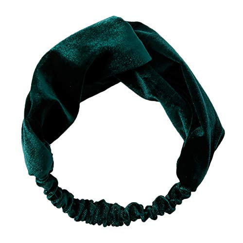 Qinlee Samt Stirnband Einfarbig Haarbänder Yoga Sport Kopftuch Mädchen Haar Accessoires Frisuren Gestylten Haaren Haarband (Dunkelgrün)