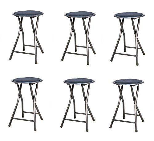 La Silla Española - Pack 6 Taburetes plegables fabricados en aluminio con asiento acolchado en PVC. Color negro. Medidas 45x30x30