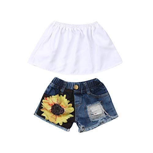 JERFER Baby Set Sommer Toddler Girl Kid Off Shoulder Crop Tops+Sunflower Hole Shorts Outfits Set