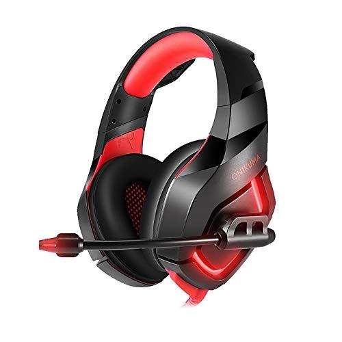 YHLZ Gaming Headset, Jeu au-Dessus Casque Intra-auriculaire stéréo 3,5 mm écouteurs Intra-Auriculaires w/rétractable contrôle de Volume Microphone Noise Cancelling for Ordinateur Portable PC de Bure
