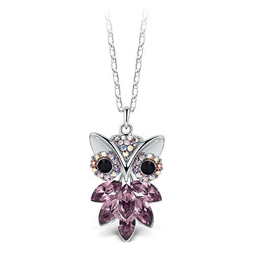 T400 Jewelers Collar con Forma de Búho Hecho con Cristales de Swarovski Regalo de San Valentín