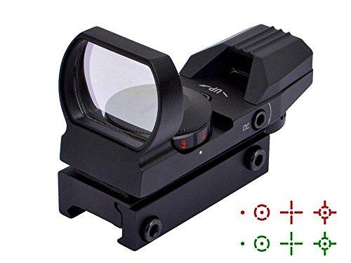 Hauska Rot Grün Dot Reflex Sight Leuchtpunkt Laser Zielvisier Holographic Scope 4 Reticles für Jagd Softair Pistole und Armbrust (schwarz)