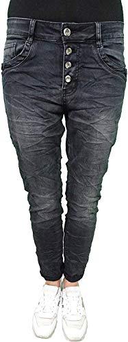 Karostar by Lexxury Denim Stretch Baggy Boyfriend Jeans Boyfriend Pantalones Vaqueros con 4 Botones Abiertos, Black Small Stones 42