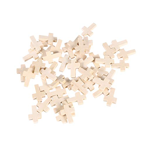 SUPVOX Holz Verzierung Holz Scheiben Holzkreuze Rosenkranz Kreuz Holzkreuz für Handwerk DIY Schmuck Halskette Armband Projekte 50 Stücke