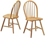 Happygrill 2-Piece Dining Chairs Wooden Windsor Chair, Vintage Armless Dining Furnither Chair with Backrest