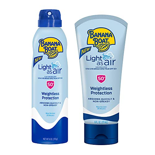 Banana Boat Light As Air Reef Friendly Twin Pack with 6oz Sunscreen Lotion and 6oz Sunscreen Spray, Broad Spectrum SPF 50