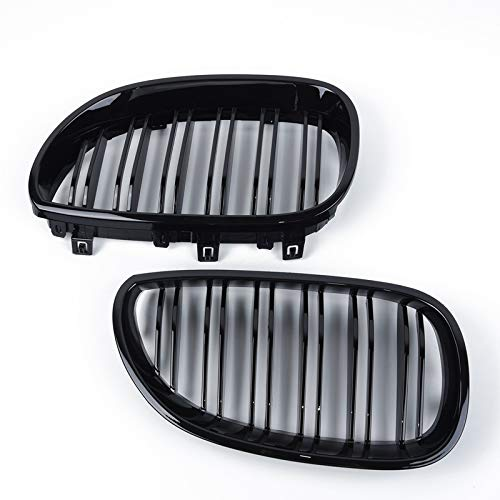 HCHD 1 Pair Gloss Black Front Kidney Grill Double Slat Double Line Grille for BMW E60 E61 5 Series 2003-2010 Car Accessories Coupe
