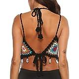 Mujer Halter Knit Top de Bikinis, Hollow out Bañador Ganchillo, Dragon868 Camisolas Tops de Verano...