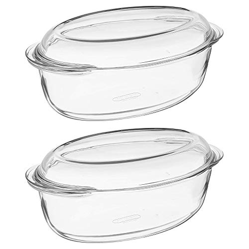 Pyrex Essentials Glass Oval Casserole Dish with Lid 4.0L Transparent (Pack of 2)