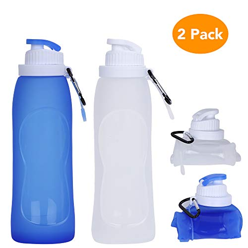 Collapsible Water Bottle, McoMce Portable Folding Bottle & Water Bottle with Clip for Backpack, Foldable Water Bottle BPA Free, 2 Pcs Sport Bottle Water Squeeze Collapble Watterbottles