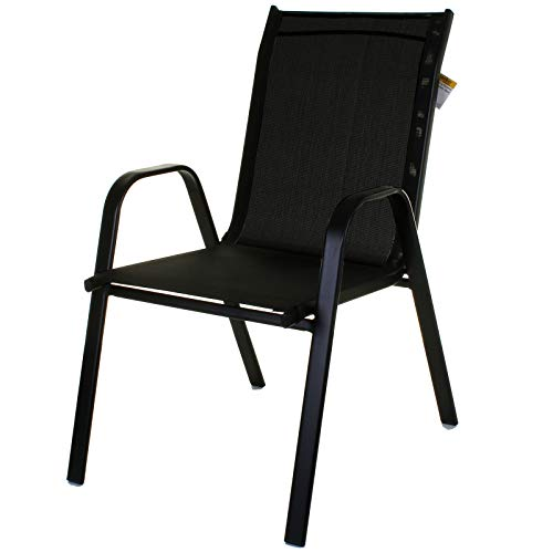 Marko Outdoor Stacking Textoline Chair Black Outdoor Bistro High Back Seating Restaurant Cafe (2 Chairs, Black)