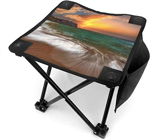 liang4268 Camping Hocker Beach-Landscape Folding Camping Stool Small Portable Camp Chair for Fishing Hiking Gardening Beach with Carry Bag.