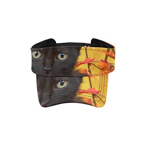 Gorra de Visera para Mujer Gatito Negro difuso en Cesta de Calabaza...