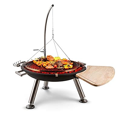 blumfeldt Turion Gallows Swivel Grill Fire Pit - BBQ, Charcoal, Cable Stainless Steel, 80cm Fire Bowl, 1.5mm Sheet Steel, 70cm Grill Surface, Robust, Black by Blumfeldt