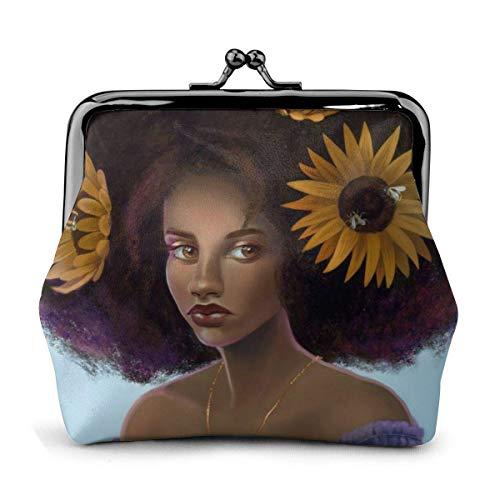 JHGFG Sonnenblume Pflanze Blumen Afro Mädchen Afrikanische Vintage Beutel Mädchen Kiss-Lock Wechsel Geldbörse Geldbörsen Schnalle Leder Münze Geldbörsen Key Woman Gedruckt