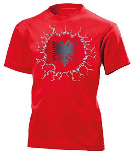 Albanien Albania Shqipëri Fanshirt Fussball Fußball Trikot Look Jersey Kinder Kids Unisex t Shirt Tshirt t-Shirt Fan Fanartikel Outfit Bekleidung Oberteil Hemd Artikel