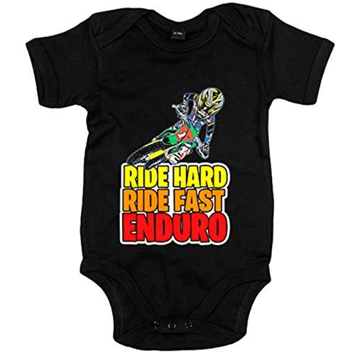 Body bebé Motocross Ride Hard Ride Fast Enduro - Negro, Talla única 12 meses