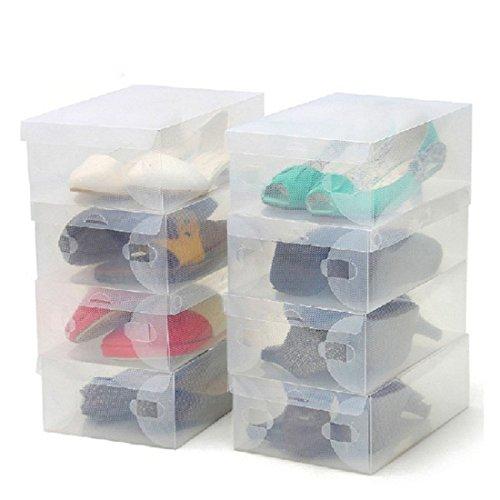 ZENUTA 10 x Cajas de Zapatos Transparente Plástico Caja Guarda Zapatos Cajones Almacenar Zapatos Almacenaje Apilables 28 x 18 x 10cm