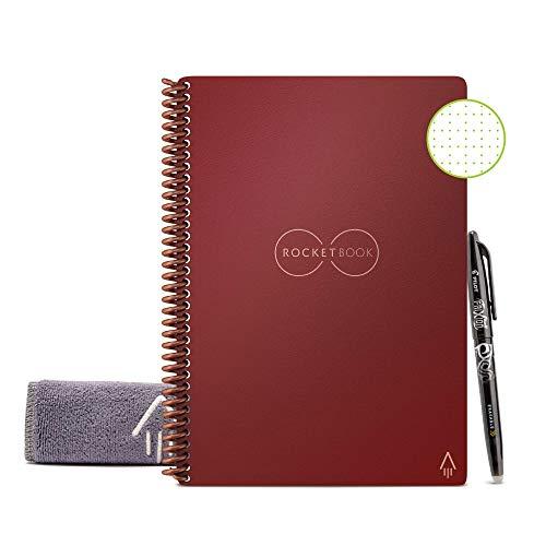 Rocketbook Core Quaderno Smart – Cancellabile, Riutilizzabile – Compatibile con Sistemi Cloud – Taccuino Digitale - Penna Pilot Frixion e Panno Inclusi (Scarlet Rosso, Executive A5, Puntinato)
