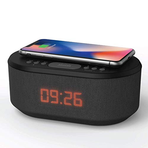 Bedside Radio Alarm Clock with USB Charger, Bluetooth Speaker, QI Wireless Charging, Dual Alarm Dimmable LED Display (Black)