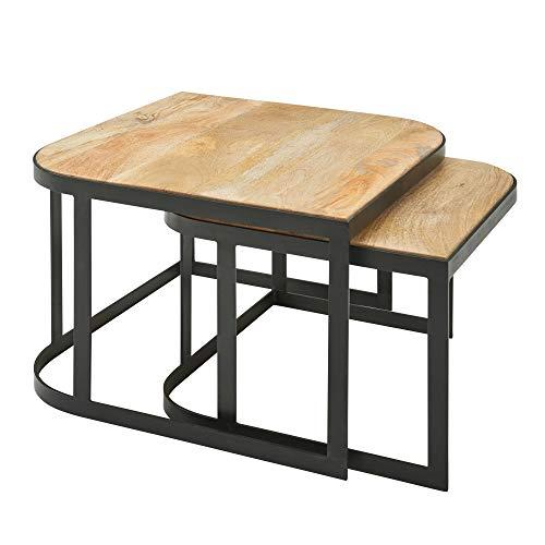 FineBuy Couchtisch 2er Set Mango Massivholz/Metall Wohnzimmertisch Hell | Industrial Satztisch Beistelltisch Metallbeine Schwarz | Tischset 2-teilig Satztisch Holz