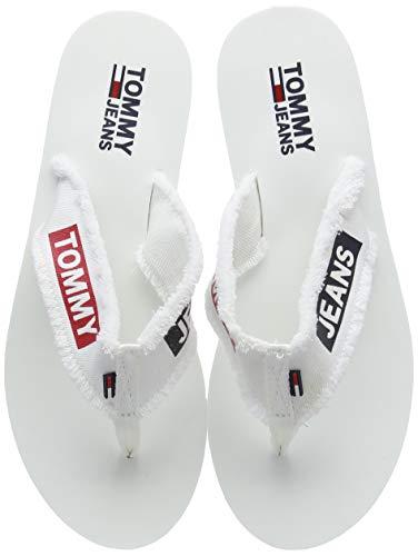Tommy Hilfiger Damen Denim MID Beach Sandal Zehentrenner, Weiß (White 100), 38 EU