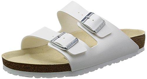 Birkenstock Classic Arizona Birko-Flor Unisex-Erwachsene Pantoletten, Weiß (WEISS), 45 EU