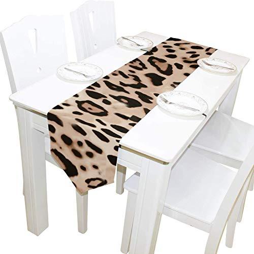 BONRI Hermoso Estampado de Leopardo Tocador Mantón Cubierta de Tela Camino de Mesa Mantel Individual Cocina Comedor Sala de Estar Hogar Boda Banquete Decoración Manta, 13 * 70 Pulgadas,13 * 70in