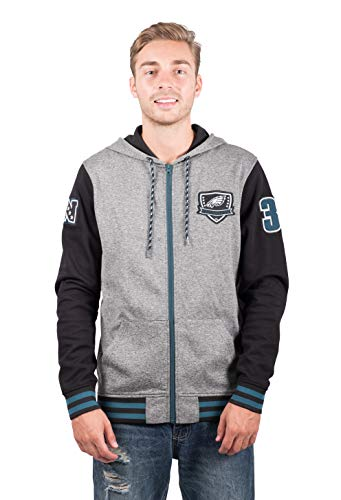 Ultra Game NFL Philadelphia Eagles Mens Full Zip Soft Fleece Hoodie Letterman Varsity Jacket, Team Color, Medium