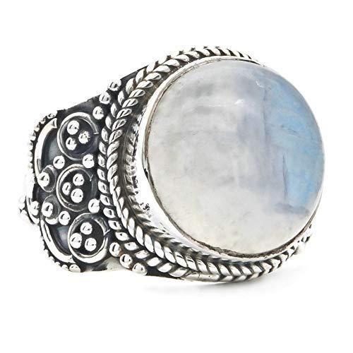 Ring Silber 925 Sterlingsilber Regenbogen Mondstein weiß Stein (Nr: MRI 148), Ringgröße:62