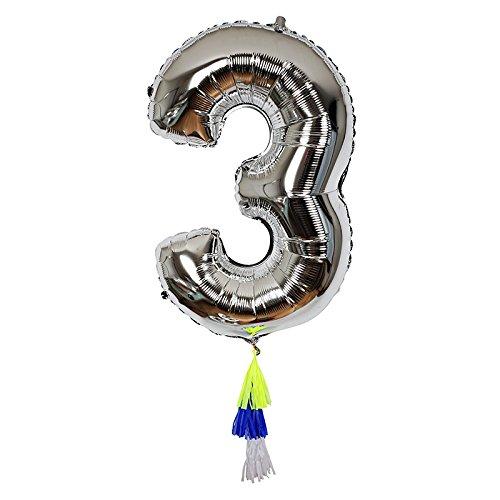 Ballon chiffre 3 avec pompons - Meri Meri