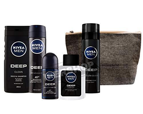 Men Deep Kit Set Regalo Uomo con Deep Schiuma da Barba, Deep Deodorante Roll-on, Deep Lozione Dopobarba +Deep Doccia Shampoo+Deo spray + Pochette tessuto cm 16