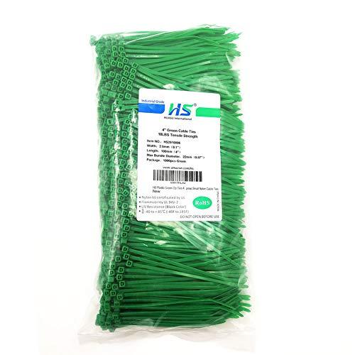 HS Nylon Wire Ties Green Zip Ties 1000 Pieces 18 Lbs Plastic Cable Ties 4 Inch,Outdoor Purpose