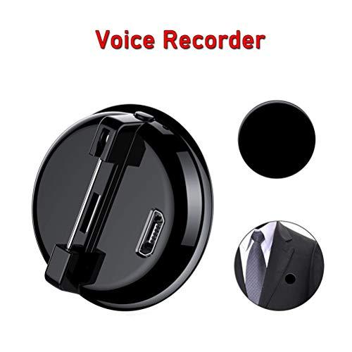 Digitale Diktiergeräte, Pin-Abzeichen Voice Recorder Spy Audiorecorder - 192kbps - One Touch Record - Mini Aktiviert Digitale Intelligente Wiederaufladbare Taschen Diktiergerät - MP3-Player