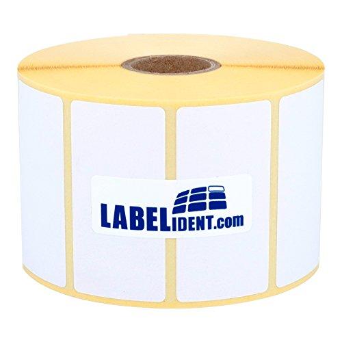 Labelident - Etichette termiche Eco su rotolo – 55 x 30 mm – 2000 etichette termiche senza BPA su rotolo da 1 pollice per stampante desktop, autoadesive, non rivestite