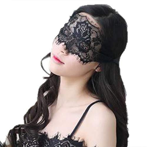 Mikiya - Maschera Sexy Semi-Trasparente in Pizzo, Motivo Floreale, per Gli Occhi, per svitare Le Ciglia, Tinta Unita, Ideale per Cosplay, Lingerie con Nastro Nero