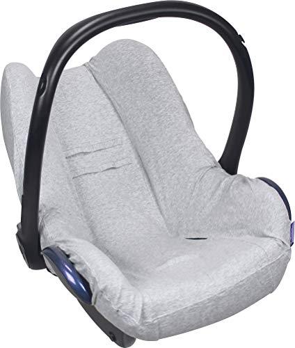 Dooky Seat Cover 0+ Light Grey Uni Melange Housse de siège auto (pour système de ceinture 3 et 5 points, pour la tranche d'âge 0+, convient à la plupart des marques), Gris
