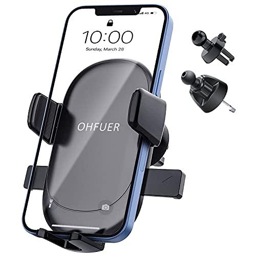 supporto cellulare auto juke OHFUER Porta Cellulare da Auto Supporto Auto Smartphone di Gravità per Bocchetta Dell'Aria 360 Gradi di Rotazione Operare con Una Sola Mano Supporto Porta Telefono Auto Universale (Black)