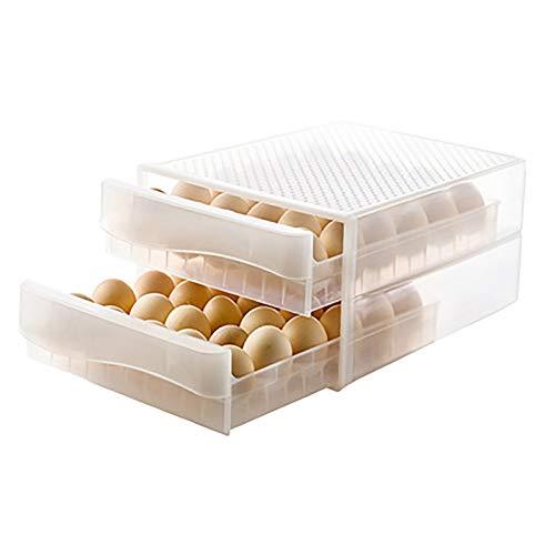 OMKMNOE Contenedor De Huevos De Plástico, Refrigerador Huevos Caja De Almacenamiento Apilable Cartón De Huevo Transparente Adecuado para El Hotel Familia Gran Cantidad Cantidad Eggtransporte,1