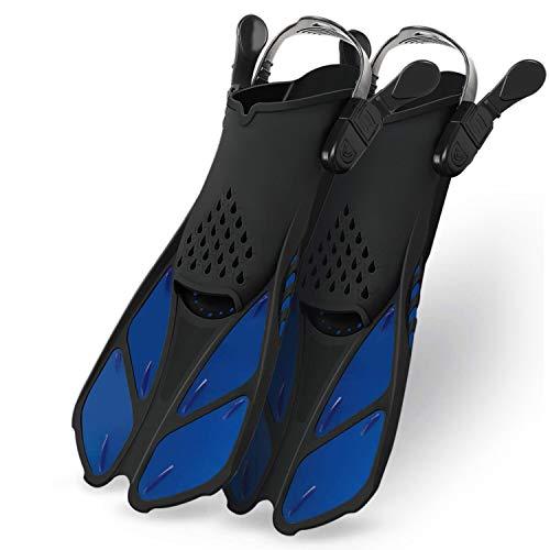 Greatever Fins Aletas de Buceo Cortas de Entrenamiento y Natación para iniciación y Snorkeling, Unisex-Youth Adultos (Blue, S/M)