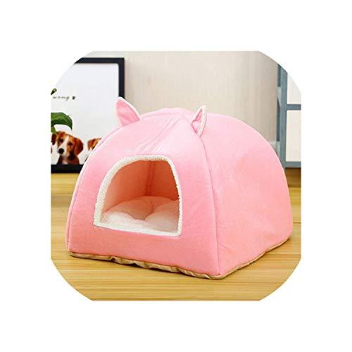 Yeaha huisdier-bedden Hond Bed Kat Huis Goederen voor Honden en Katten Puppy Kennels Comfortabele Hond Nest Mat Ger Cat Tent Huis, M, roze