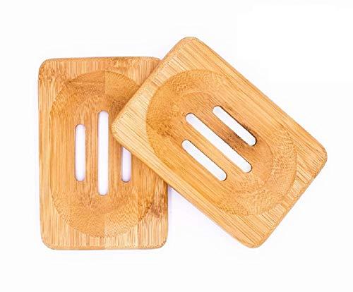 Mutsitaz 2 Stück Seifenschale Bambus Seifenhalter Natürlicher aus Holz Badezimmer Dusche