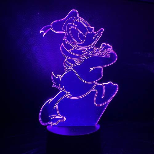 Guo De Dibujos Animados Pato Donald 3D Lámpara De Noche Touch USB Sensor De Hoom Luces Decorativas Niño Niños Bebé Luz Pato Donald Luz De La Noche LED
