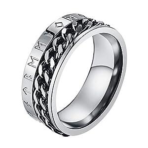 Valily Herren Wikinger Rune Ring Silber Edelstahl drehbar Ring kubanische Kette Band Ring Alten Amulett Wikinger Schmuck Größe 62