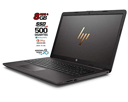 HP 255 G7 Notebook portatile, SSD M2 da 500GB, Display da 15.6', Amd A4 64bit da 2,6 GHz, 8GB di RAM DDR4, Office 2019, Wi-fI, Dvd-Cd Rw, 3 usb, web cam, Win10 Pro, Pronto All'uso, Garanzia Italia