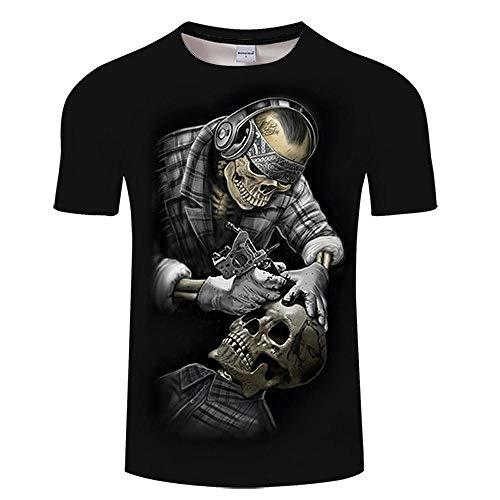 T Shirt Skull 3D Print T Shirt Hommes Femmes Tshirt Été Drôle À Manches Courtes O-Neck Tops & Tee Streetwear Noir Asianm Tx175