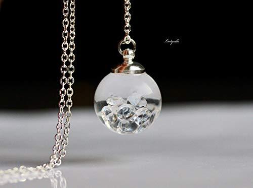 Wasser Kette Quarz Kristalle im Glasball/Aquarium Kette/Geschenk Geburtstag/Besonderes Geschenk/originelles geschenk