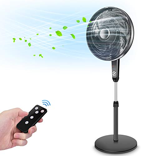 Pedestal Fan - Oscillating Fan with Timer Function, Powerful 4 Speed, 3 Modes, Remote Control, Large Standing Fan, Adjustable Height & Tilt, 2 in 1 Oscillating Pedestal Fan for Living Room, Bedroom, Outdoor Patio