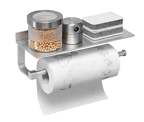 Mlryh Portarrollos De Cocina con Estante Portarrollos de Papel de Cocina con Estante Adhesivo Portarrollos de Papel Higiénico Aluminio Inoxidable Montaje en Pared Plateado 13Inch