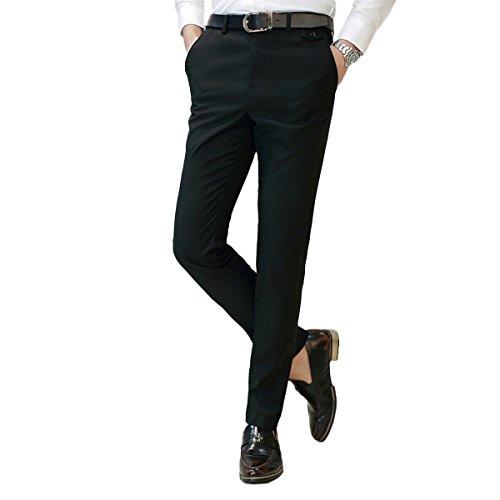 Men's Dress Pants Slim Fit Stretch Skinny Suit Pants Classic-Fit Flat Front Business Trousers Black
